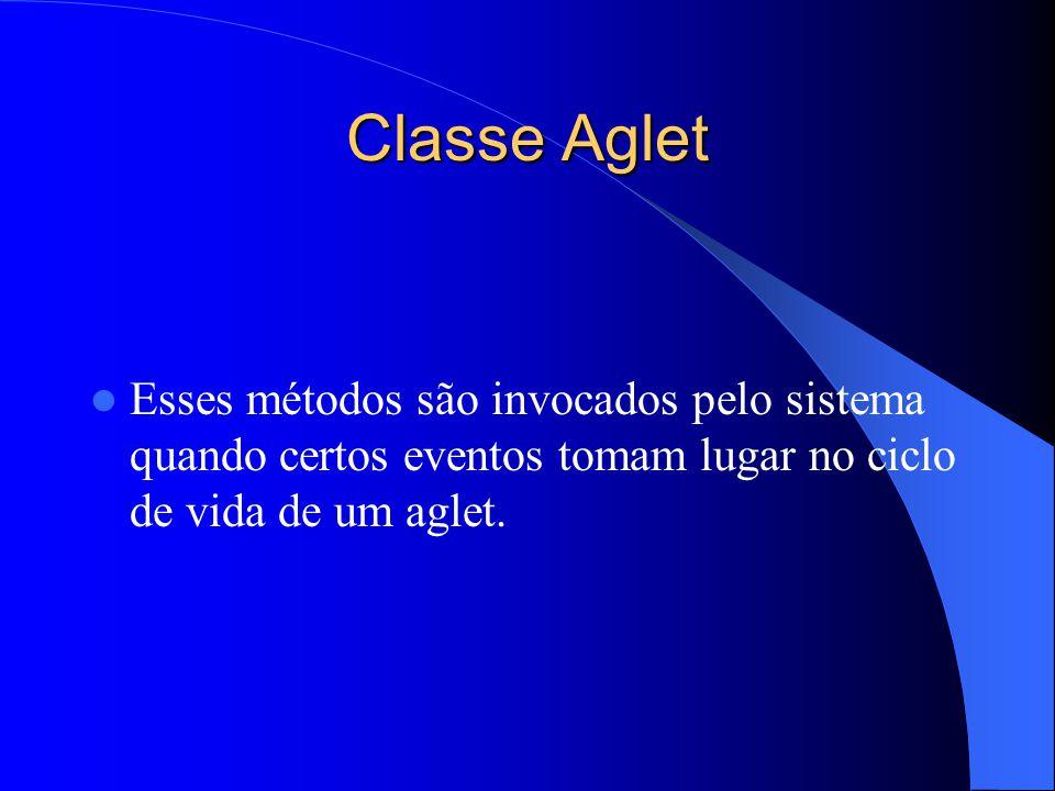 Classe Aglet Esses métodos são invocados pelo sistema quando certos eventos tomam lugar no ciclo de vida de um aglet.