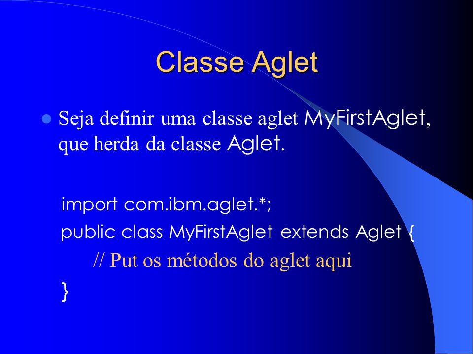 Classe Aglet Seja definir uma classe aglet MyFirstAglet, que herda da classe Aglet. import com.ibm.aglet.*;