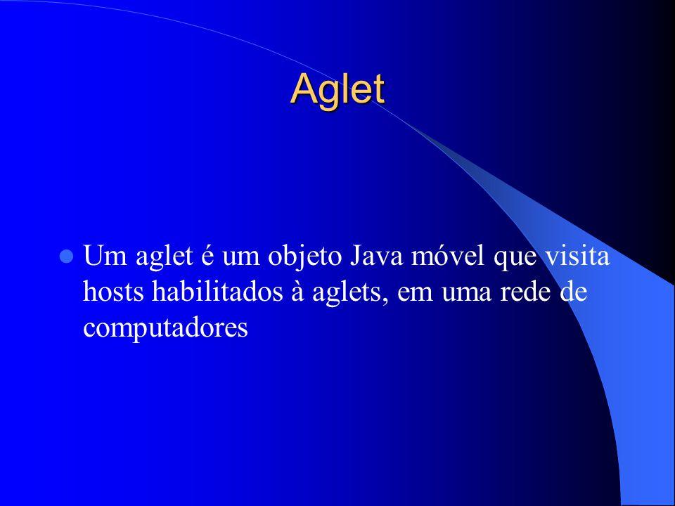 Aglet Um aglet é um objeto Java móvel que visita hosts habilitados à aglets, em uma rede de computadores.