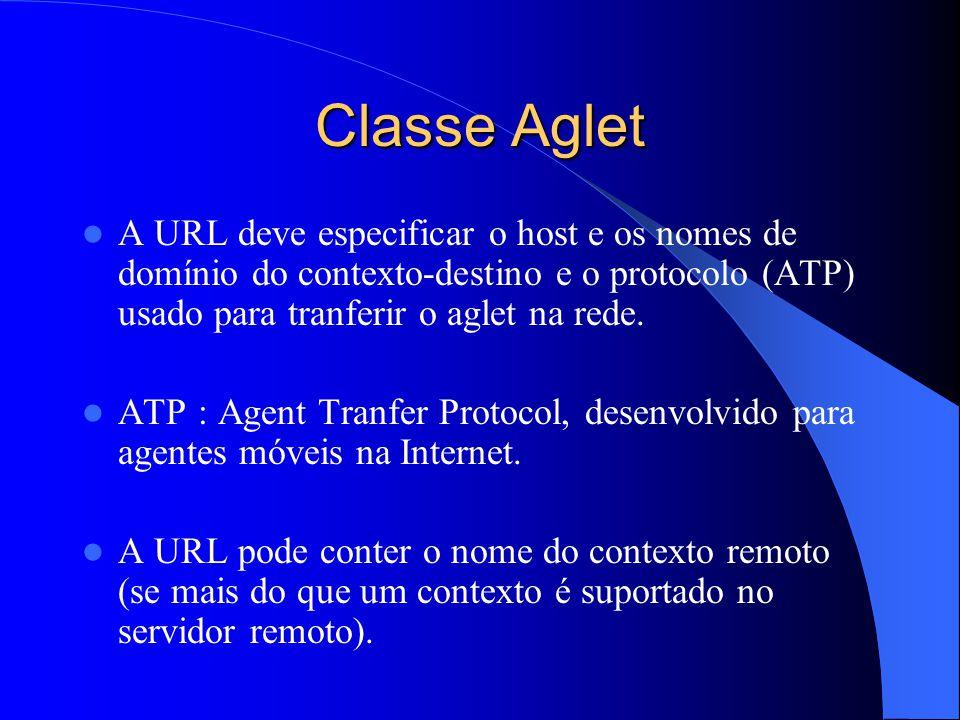 Classe Aglet A URL deve especificar o host e os nomes de domínio do contexto-destino e o protocolo (ATP) usado para tranferir o aglet na rede.