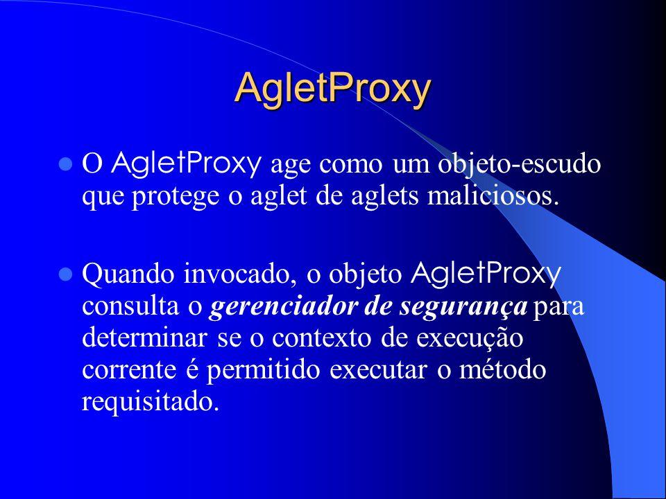 AgletProxy O AgletProxy age como um objeto-escudo que protege o aglet de aglets maliciosos.