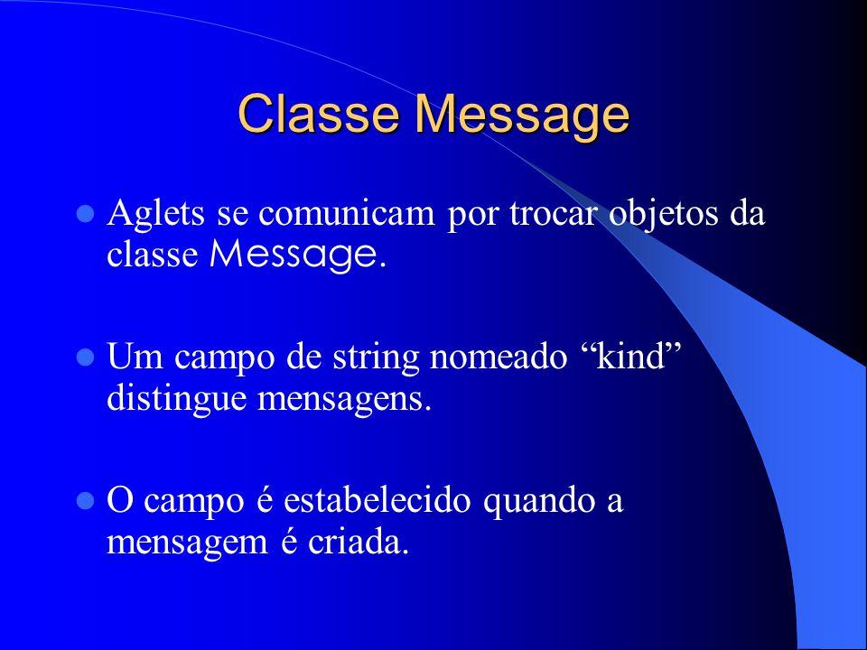 Classe Message Aglets se comunicam por trocar objetos da classe Message. Um campo de string nomeado kind distingue mensagens.
