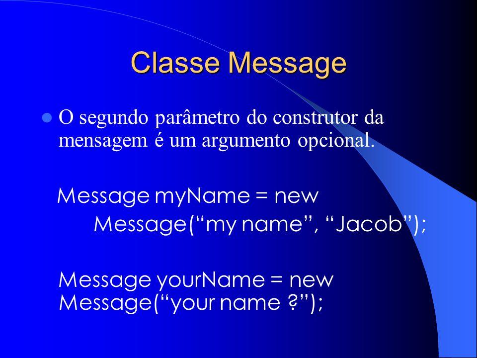 Classe Message O segundo parâmetro do construtor da mensagem é um argumento opcional. Message myName = new.