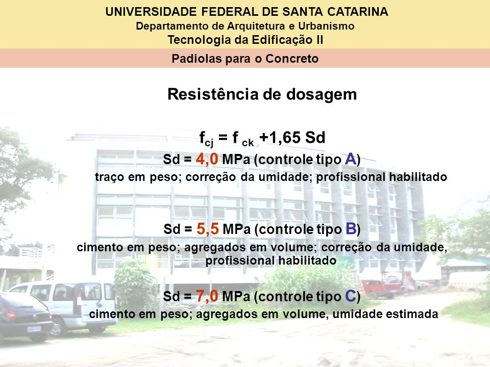 Resistência de dosagem fcj = f ck +1,65 Sd