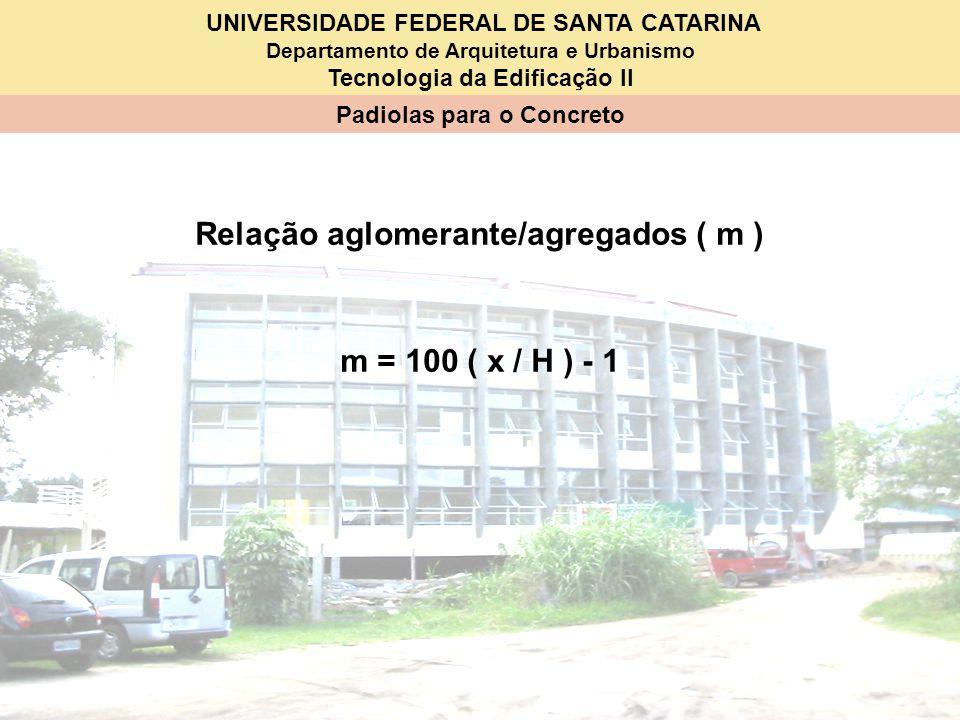 Relação aglomerante/agregados ( m )