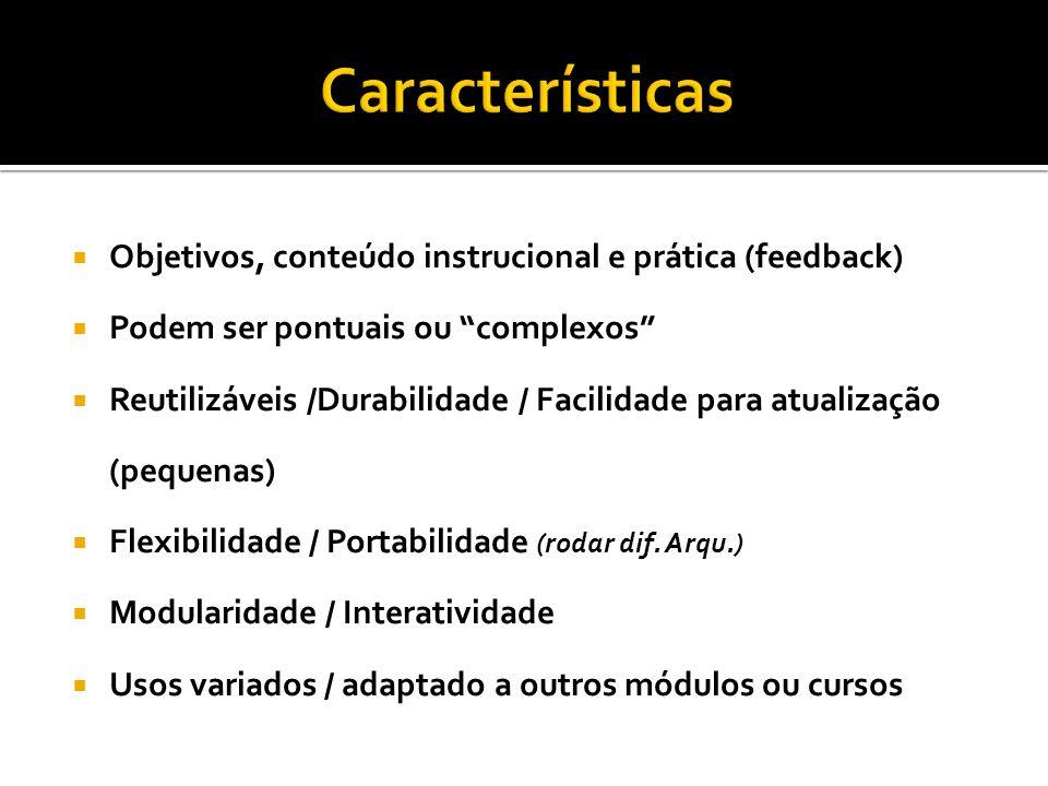 Características Objetivos, conteúdo instrucional e prática (feedback)