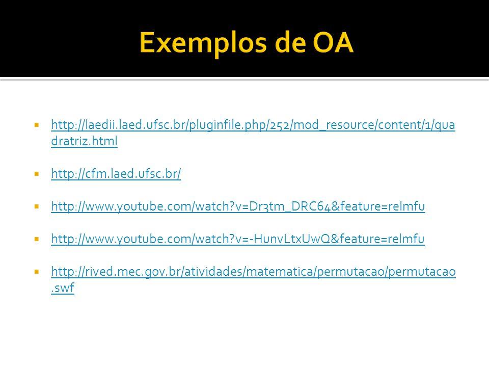 Exemplos de OA http://laedii.laed.ufsc.br/pluginfile.php/252/mod_resource/content/1/quadratriz.html.