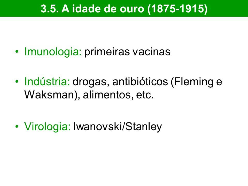 3.5. A idade de ouro (1875-1915) Imunologia: primeiras vacinas. Indústria: drogas, antibióticos (Fleming e Waksman), alimentos, etc.