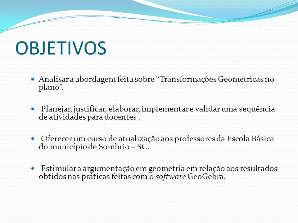 OBJETIVOS Analisar a abordagem feita sobre Transformações Geométricas no plano .