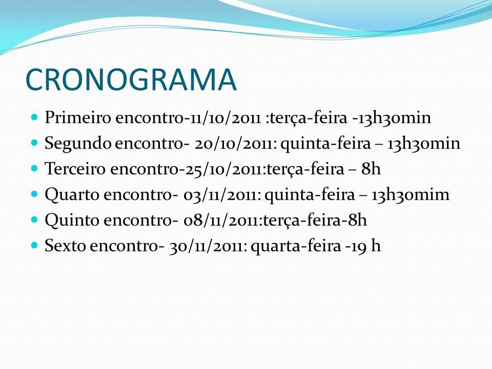 CRONOGRAMA Primeiro encontro-11/10/2011 :terça-feira -13h30min