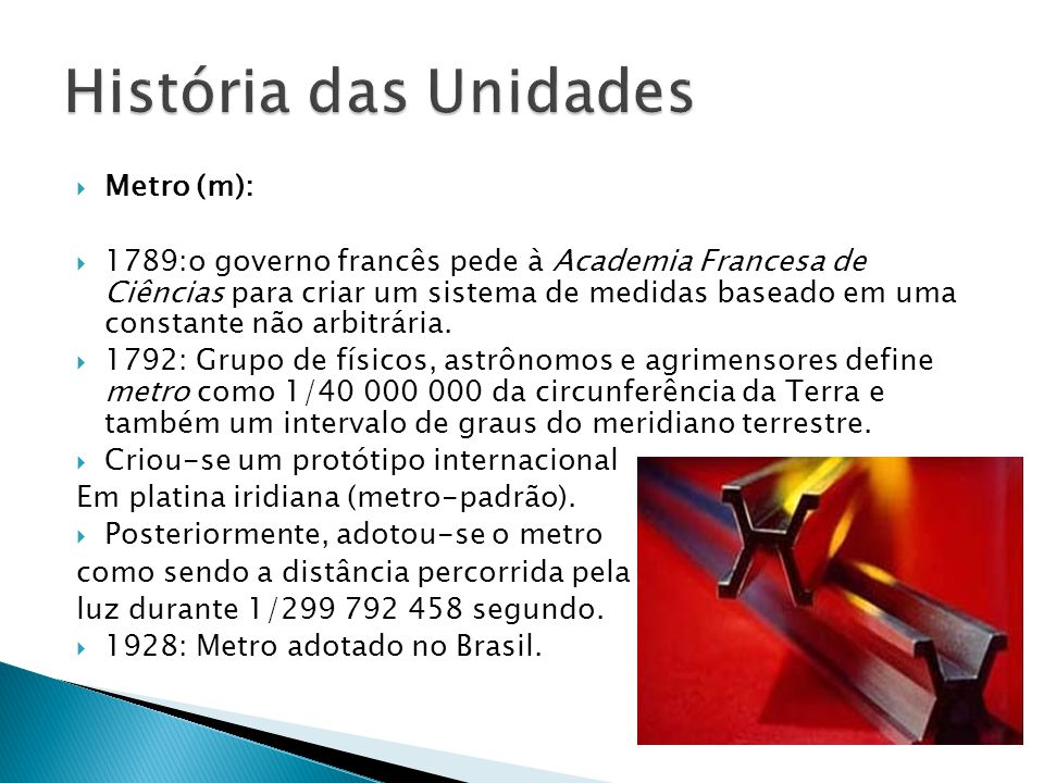 História das Unidades Metro (m):