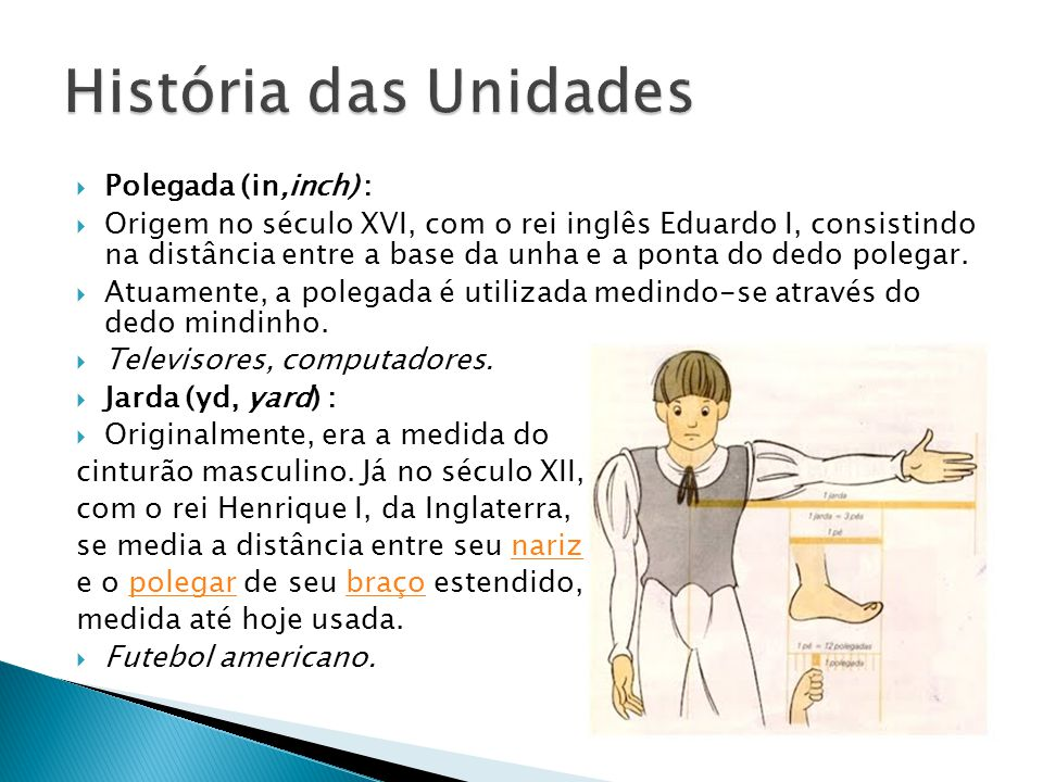 História das Unidades Polegada (in,inch) :
