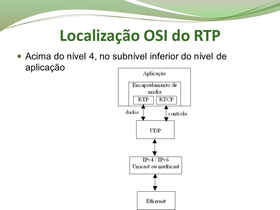 Localização OSI do RTP Acima do nível 4, no subnível inferior do nível de aplicação