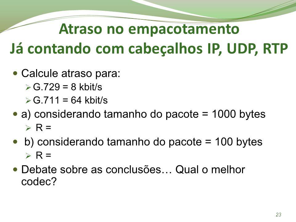 Atraso no empacotamento Já contando com cabeçalhos IP, UDP, RTP