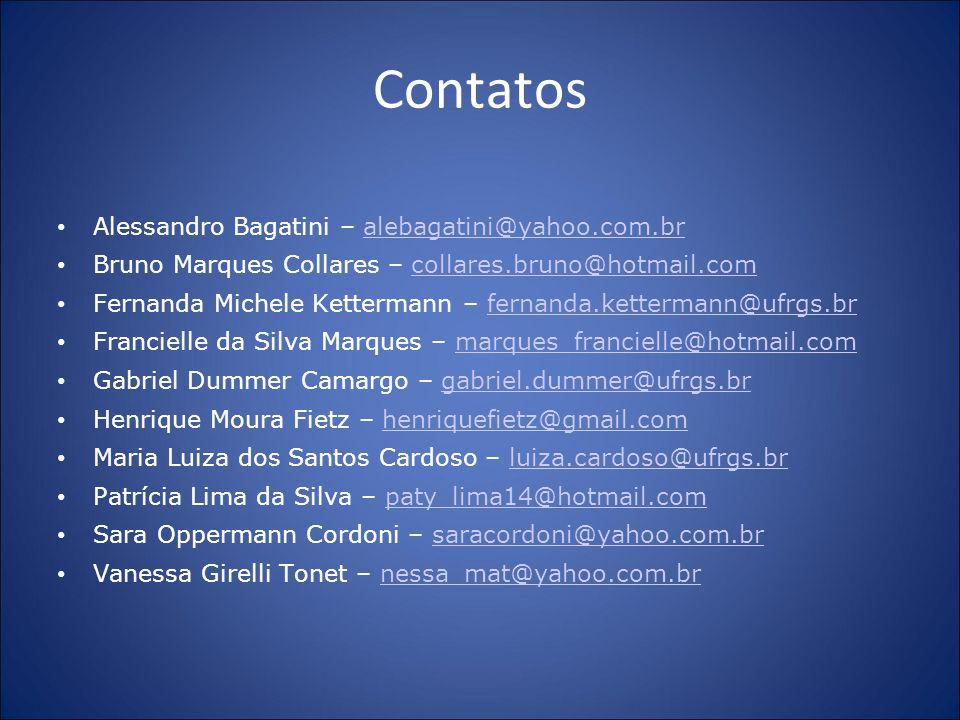 Contatos Alessandro Bagatini – alebagatini@yahoo.com.br