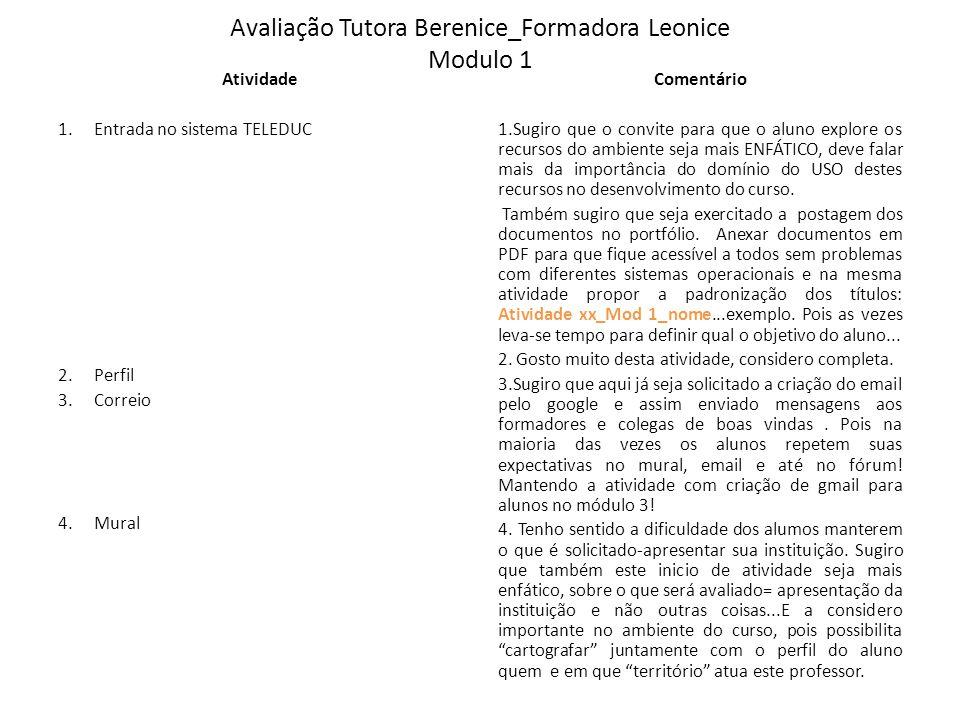 Avaliação Tutora Berenice_Formadora Leonice Modulo 1