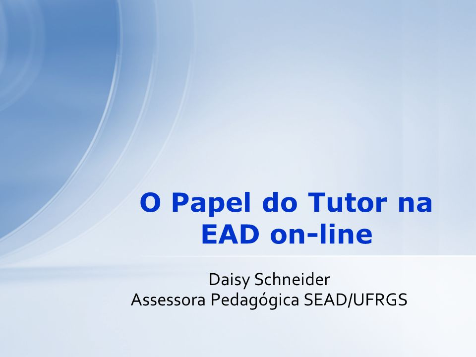 O Papel do Tutor na EAD on-line