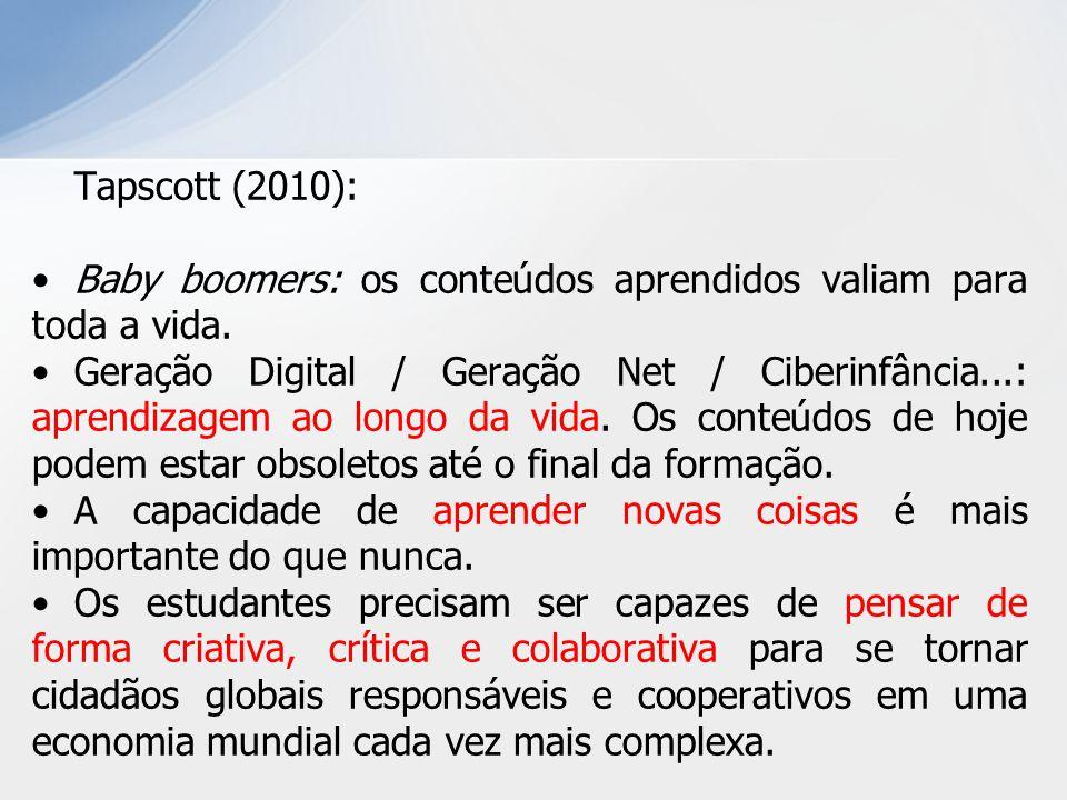 Tapscott (2010): Baby boomers: os conteúdos aprendidos valiam para toda a vida.