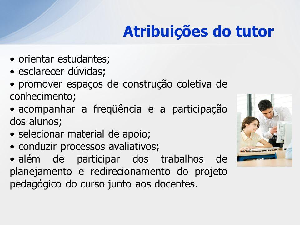 Atribuições do tutor orientar estudantes; esclarecer dúvidas;