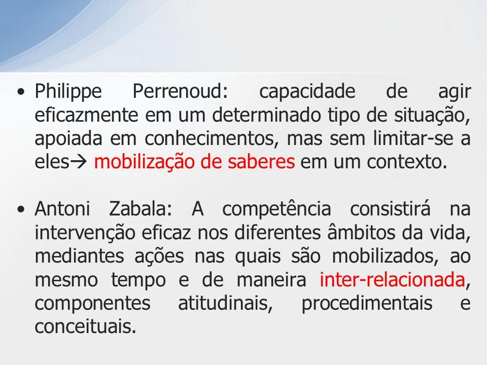 Philippe Perrenoud: capacidade de agir eficazmente em um determinado tipo de situação, apoiada em conhecimentos, mas sem limitar-se a eles mobilização de saberes em um contexto.