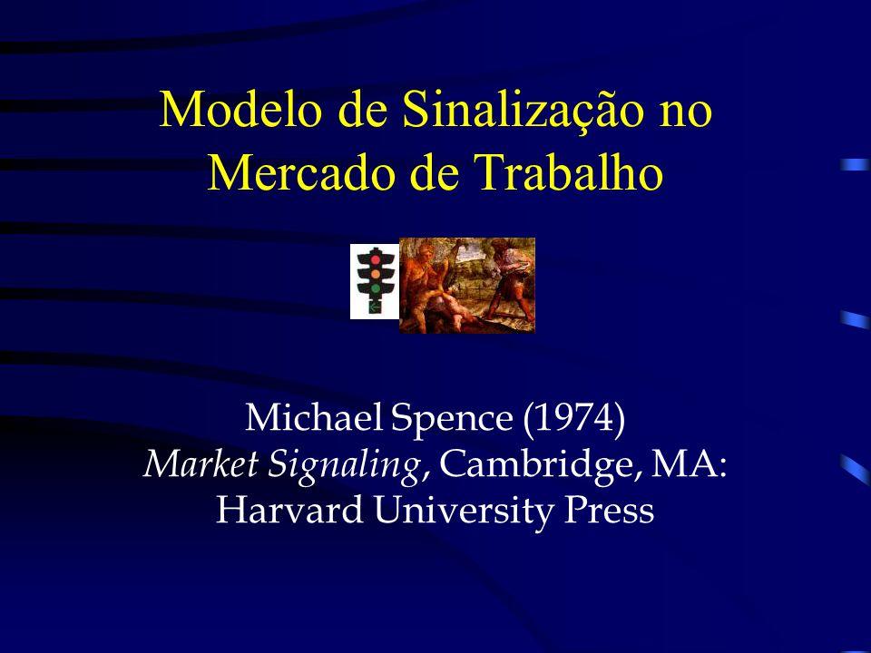 Modelo de Sinalização no Mercado de Trabalho Michael Spence (1974) Market Signaling, Cambridge, MA: Harvard University Press