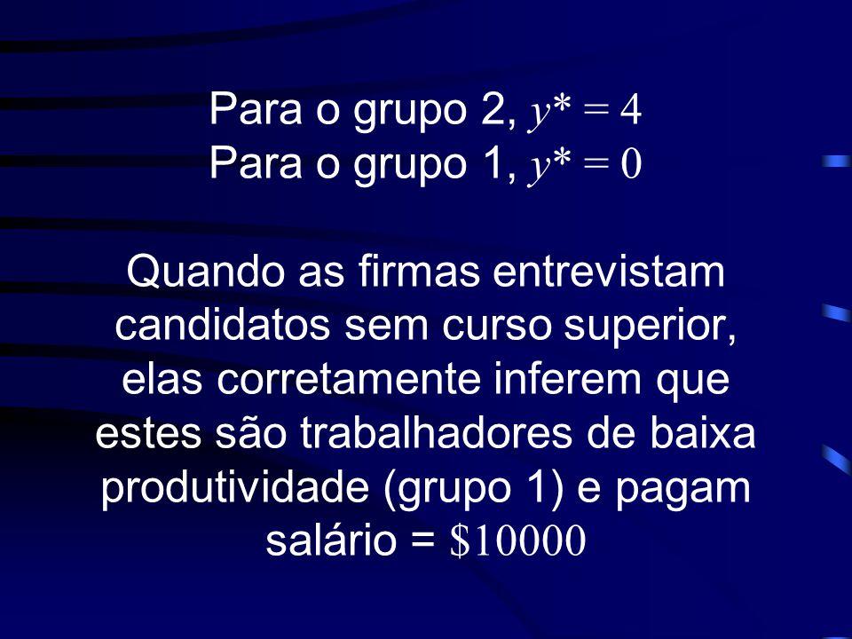 Para o grupo 2, y. = 4 Para o grupo 1, y