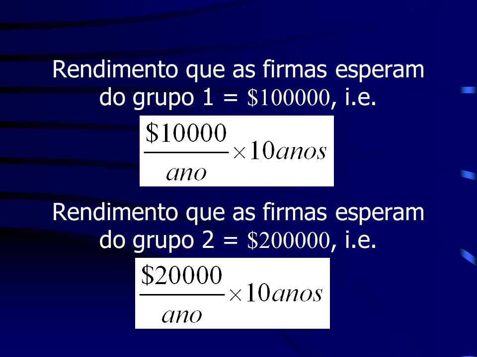Rendimento que as firmas esperam do grupo 1 = $100000, i. e