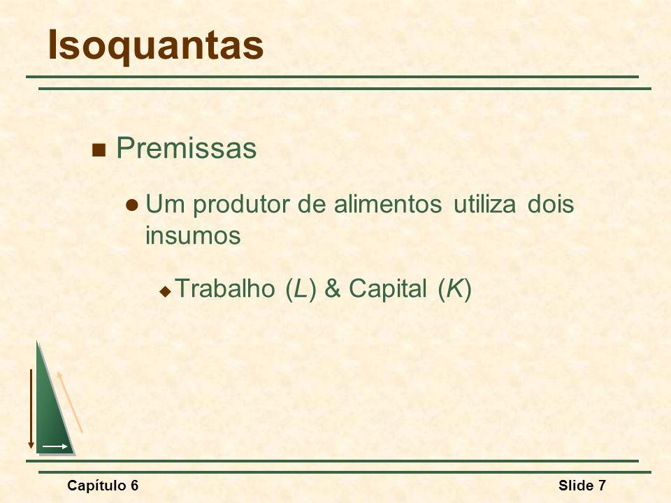 Isoquantas Premissas Um produtor de alimentos utiliza dois insumos
