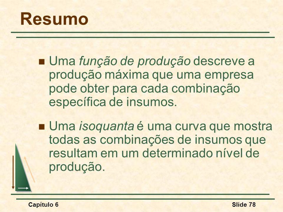 Resumo Uma função de produção descreve a produção máxima que uma empresa pode obter para cada combinação específica de insumos.