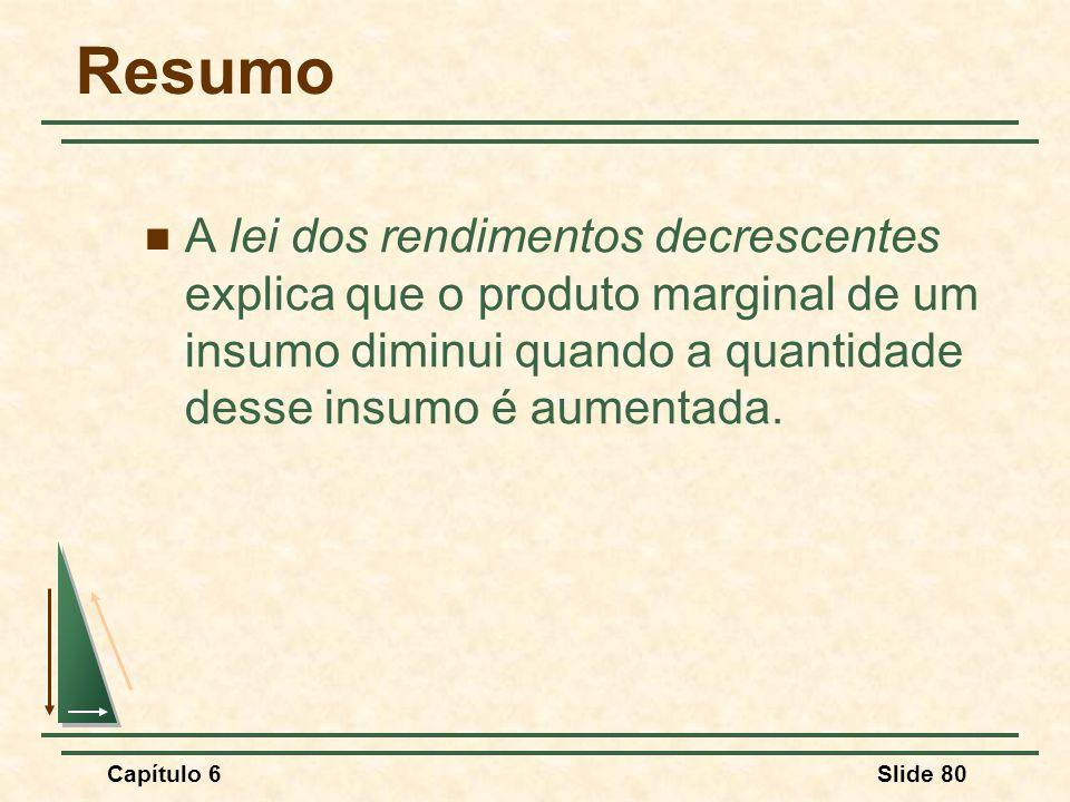 Resumo A lei dos rendimentos decrescentes explica que o produto marginal de um insumo diminui quando a quantidade desse insumo é aumentada.