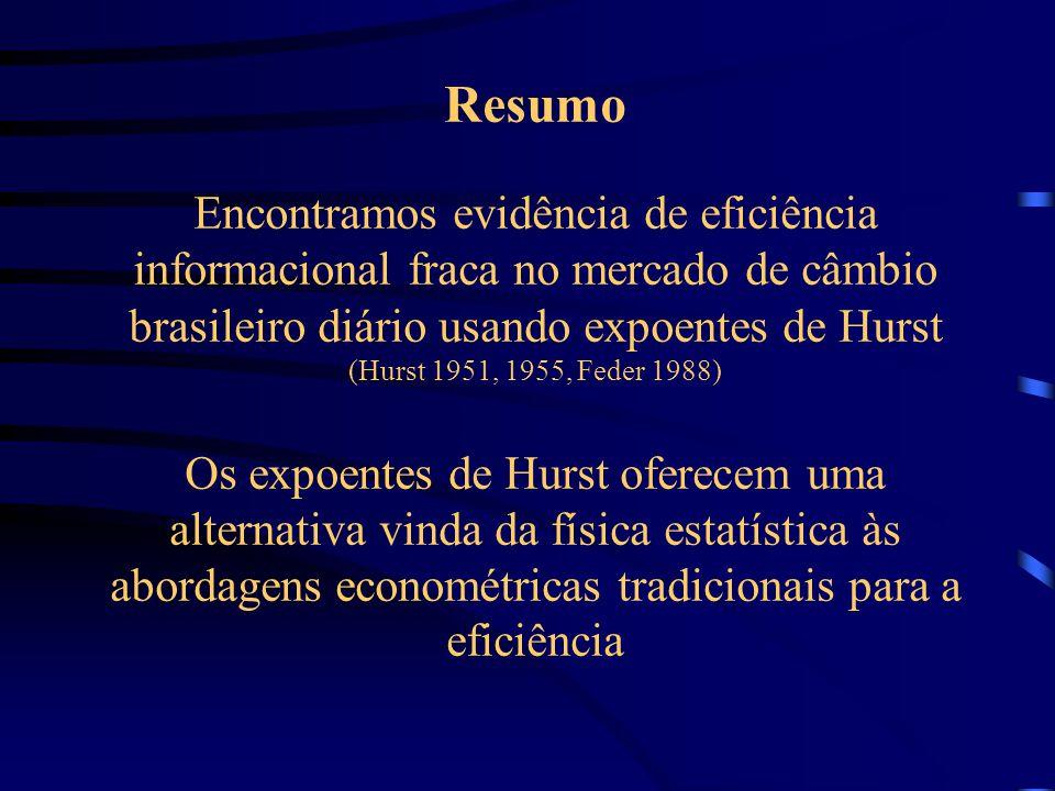 Resumo Encontramos evidência de eficiência informacional fraca no mercado de câmbio brasileiro diário usando expoentes de Hurst (Hurst 1951, 1955, Feder 1988) Os expoentes de Hurst oferecem uma alternativa vinda da física estatística às abordagens econométricas tradicionais para a eficiência