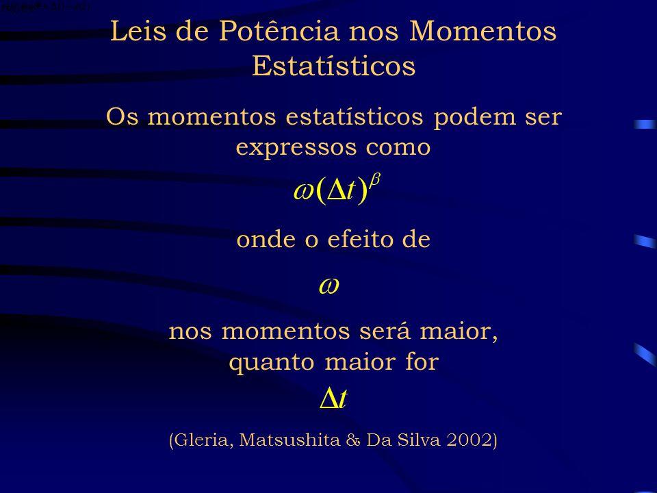 Leis de Potência nos Momentos Estatísticos Os momentos estatísticos podem ser expressos como onde o efeito de nos momentos será maior, quanto maior for (Gleria, Matsushita & Da Silva 2002)