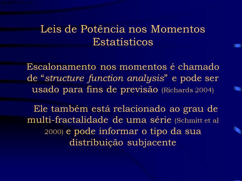Leis de Potência nos Momentos Estatísticos Escalonamento nos momentos é chamado de structure function analysis e pode ser usado para fins de previsão (Richards 2004) Ele também está relacionado ao grau de multi-fractalidade de uma série (Schmitt et al 2000) e pode informar o tipo da sua distribuição subjacente