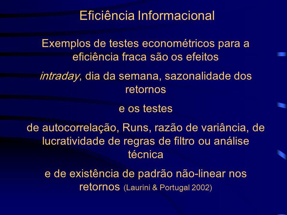 Eficiência Informacional Exemplos de testes econométricos para a eficiência fraca são os efeitos intraday, dia da semana, sazonalidade dos retornos e os testes de autocorrelação, Runs, razão de variância, de lucratividade de regras de filtro ou análise técnica e de existência de padrão não-linear nos retornos (Laurini & Portugal 2002)