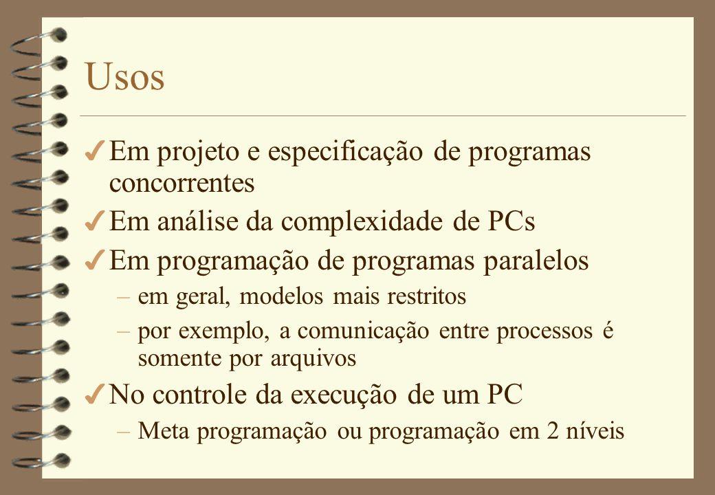 Usos Em projeto e especificação de programas concorrentes