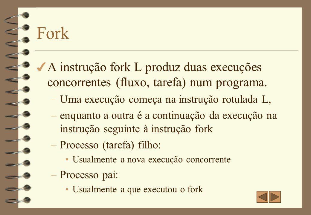 Fork A instrução fork L produz duas execuções concorrentes (fluxo, tarefa) num programa. Uma execução começa na instrução rotulada L,