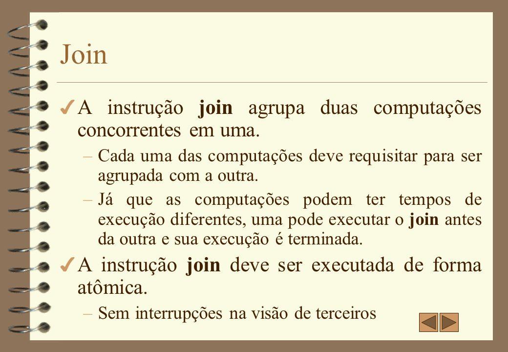 Join A instrução join agrupa duas computações concorrentes em uma.
