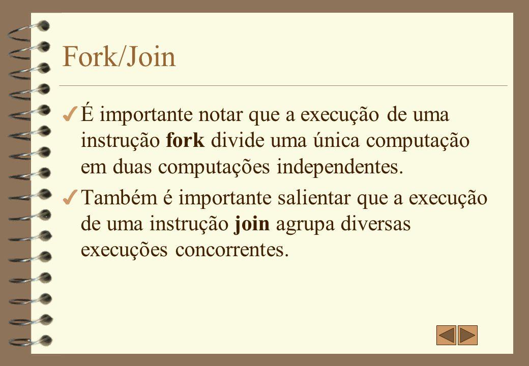 Fork/Join É importante notar que a execução de uma instrução fork divide uma única computação em duas computações independentes.