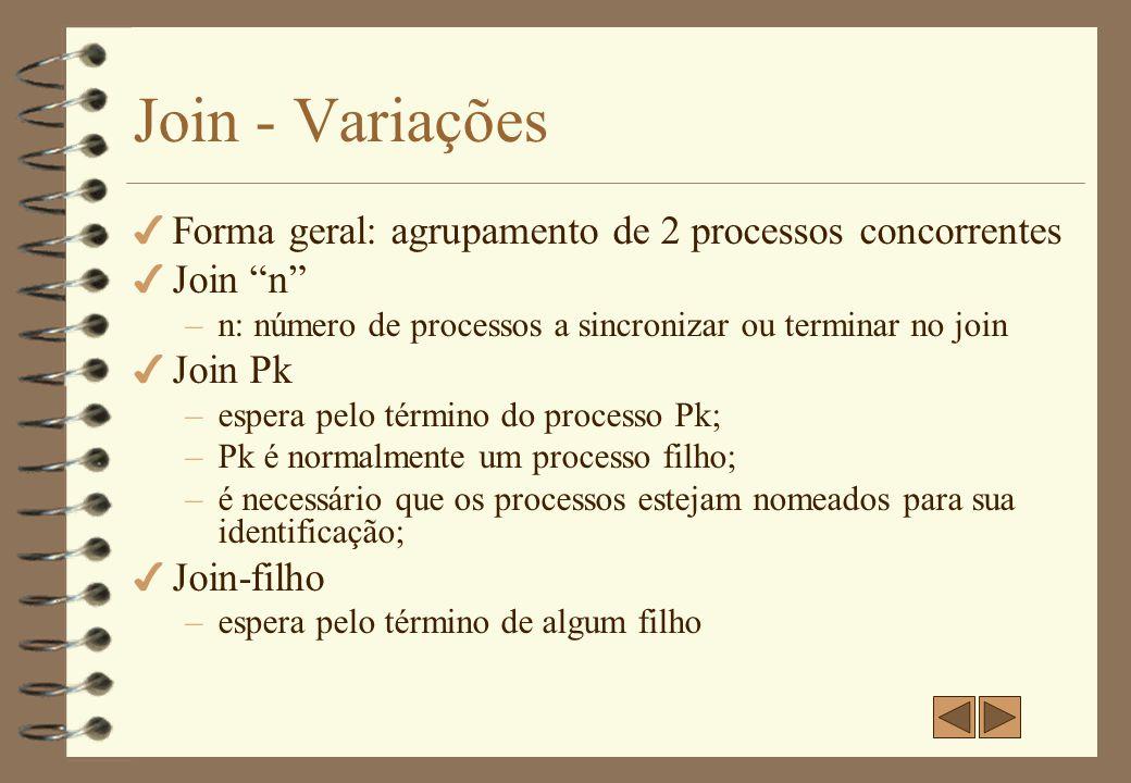 Join - Variações Forma geral: agrupamento de 2 processos concorrentes