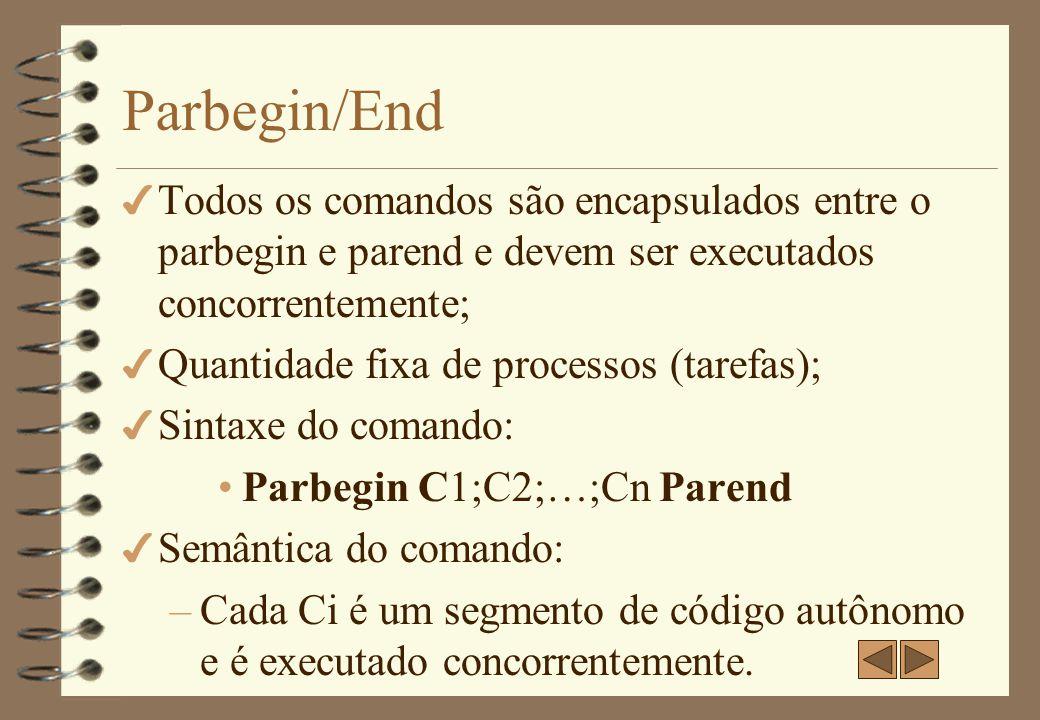 Parbegin/End Todos os comandos são encapsulados entre o parbegin e parend e devem ser executados concorrentemente;