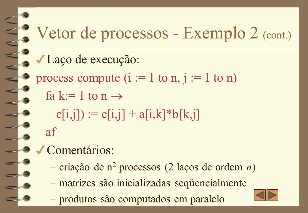 Vetor de processos - Exemplo 2 (cont.)
