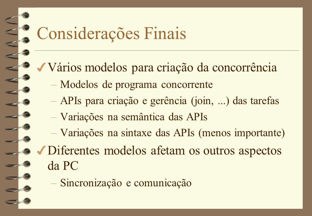 Considerações Finais Vários modelos para criação da concorrência