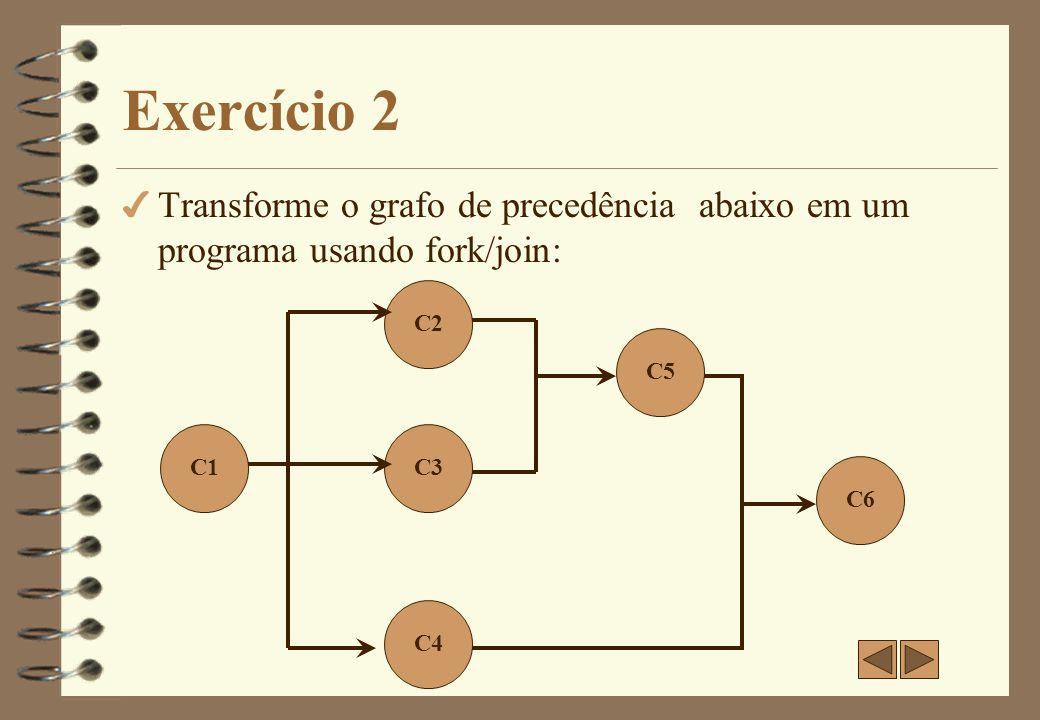 Exercício 2 Transforme o grafo de precedência abaixo em um programa usando fork/join: C2. C5. C1.