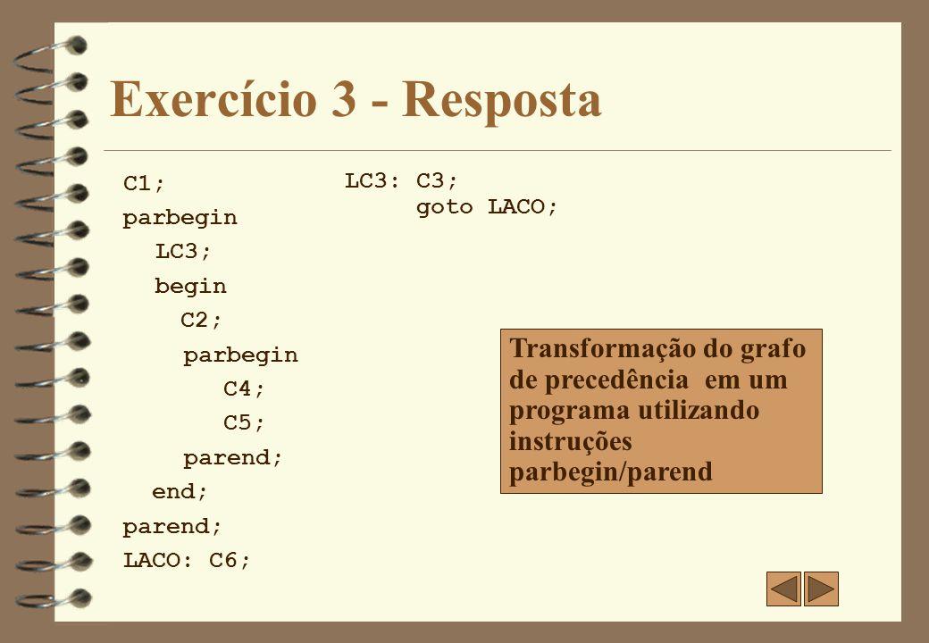 Exercício 3 - Resposta C1; parbegin. LC3; begin. C2; C4; C5; parend; end; LACO: C6; LC3: C3;