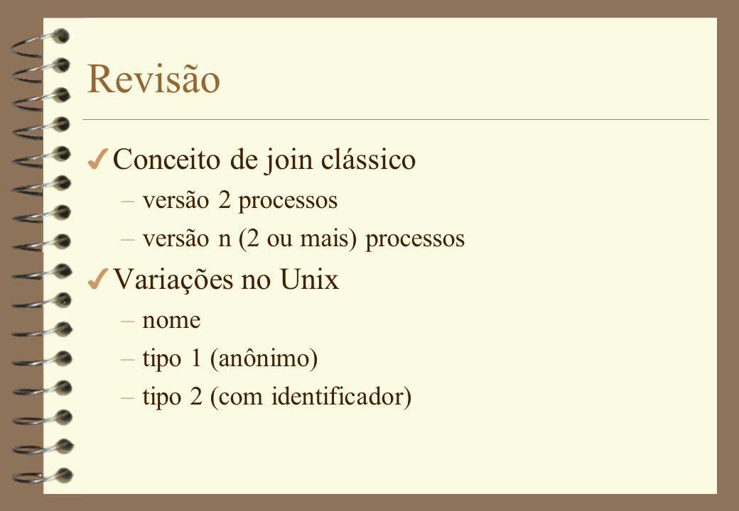 Revisão Conceito de join clássico Variações no Unix versão 2 processos