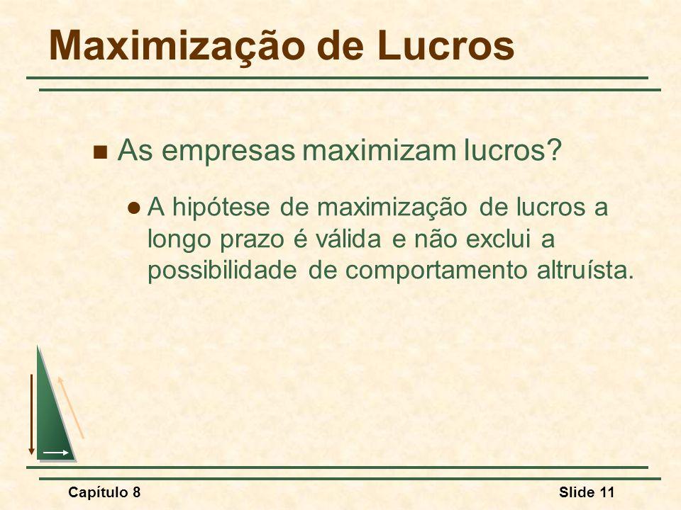 Maximização de Lucros As empresas maximizam lucros