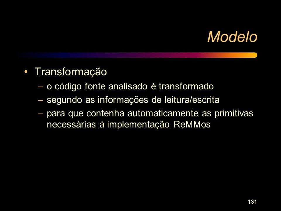 Modelo Transformação o código fonte analisado é transformado