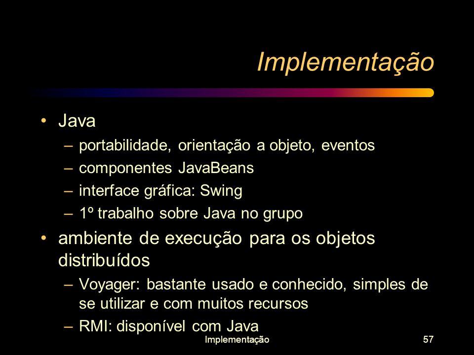 Implementação Java ambiente de execução para os objetos distribuídos