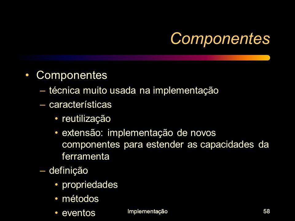Componentes Componentes técnica muito usada na implementação