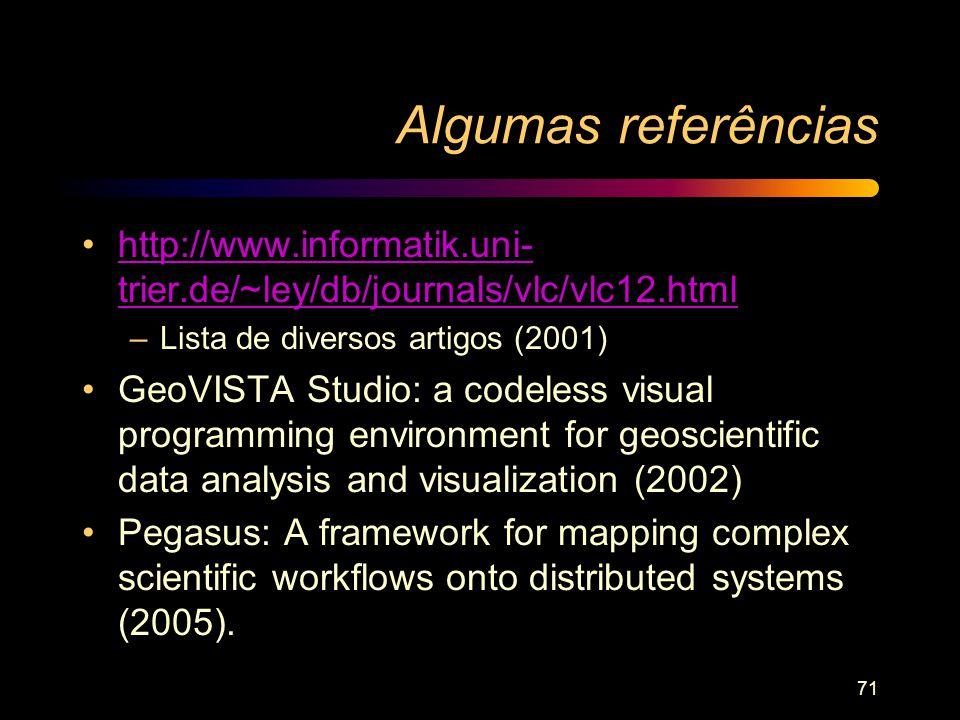 Algumas referências http://www.informatik.uni-trier.de/~ley/db/journals/vlc/vlc12.html. Lista de diversos artigos (2001)